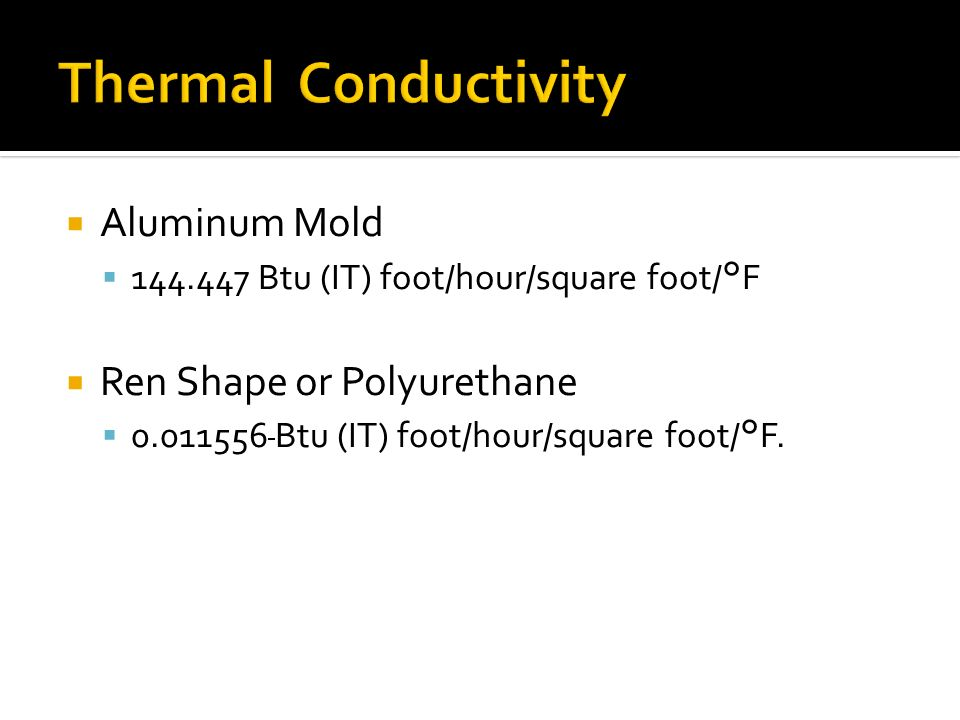 Aluminum Mold 144.447 Btu (IT) foot/hour/square foot/°F Ren Shape or Polyurethane 0.011556 Btu (IT) foot/hour/square foot/°F.