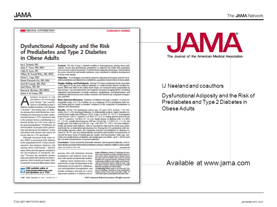 jamanetwork.com Copyright restrictions apply. Available at www.jama.com IJ Neeland and coauthors Dysfunctional Adiposity and the Risk of Prediabetes a