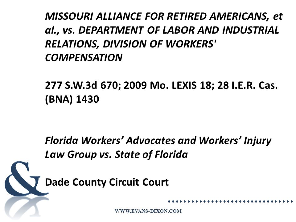 WWW. EVANS - DIXON. COM MISSOURI ALLIANCE FOR RETIRED AMERICANS, et al., vs.