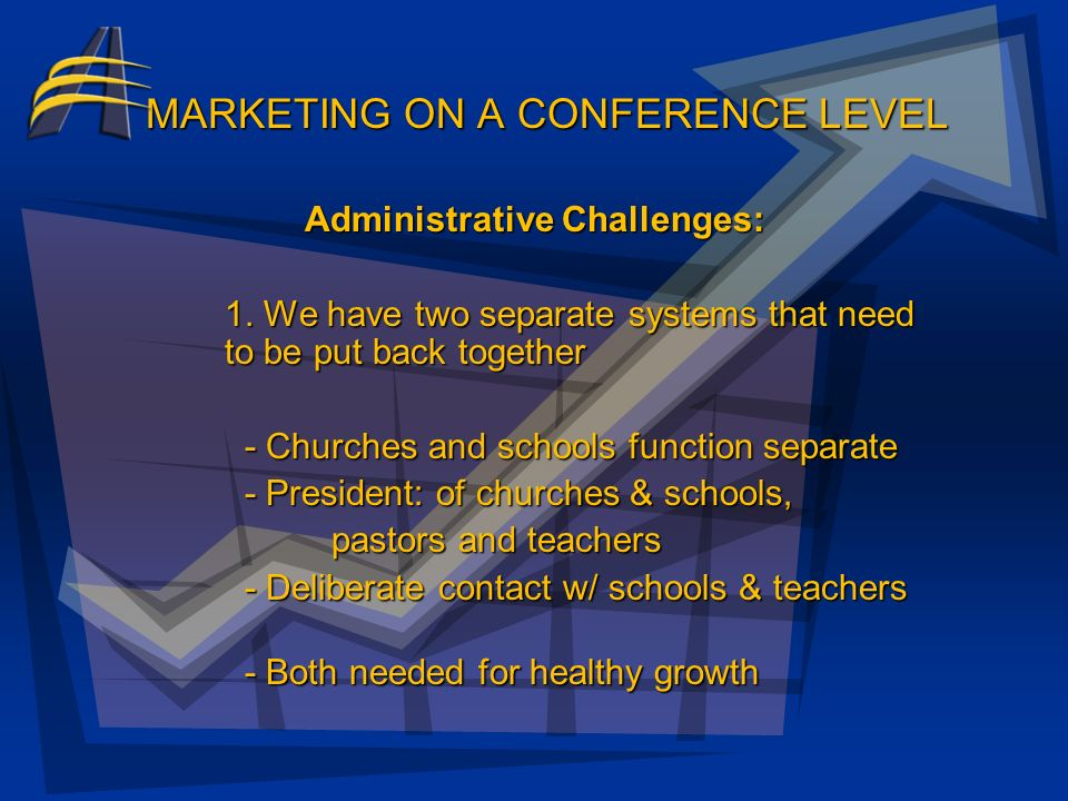 MARKETING ON A CONFERENCE LEVEL Benefits of Marketing as a Conference: Marketing an Adventist Christian Education System a. set level of excellence b.