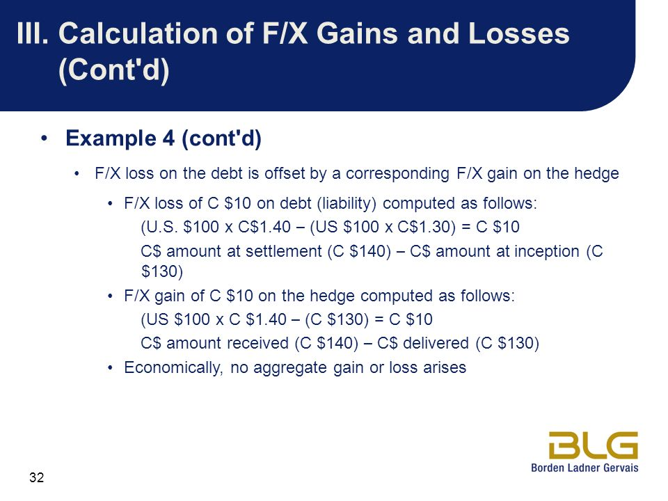 32 III.Calculation of F/X Gains and Losses (Cont'd) Example 4 (cont'd) F/X loss on the debt is offset by a corresponding F/X gain on the hedge F/X los