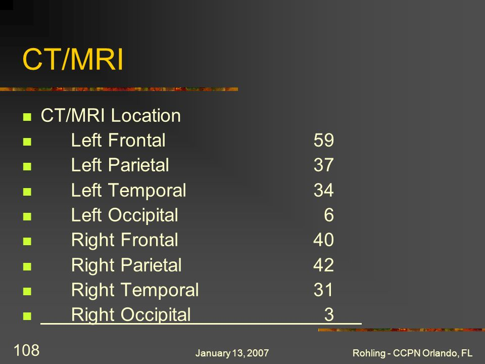 January 13, 2007Rohling - CCPN Orlando, FL 108 CT/MRI CT/MRI Location Left Frontal59 Left Parietal37 Left Temporal34 Left Occipital 6 Right Frontal40 Right Parietal42 Right Temporal31 Right Occipital 3