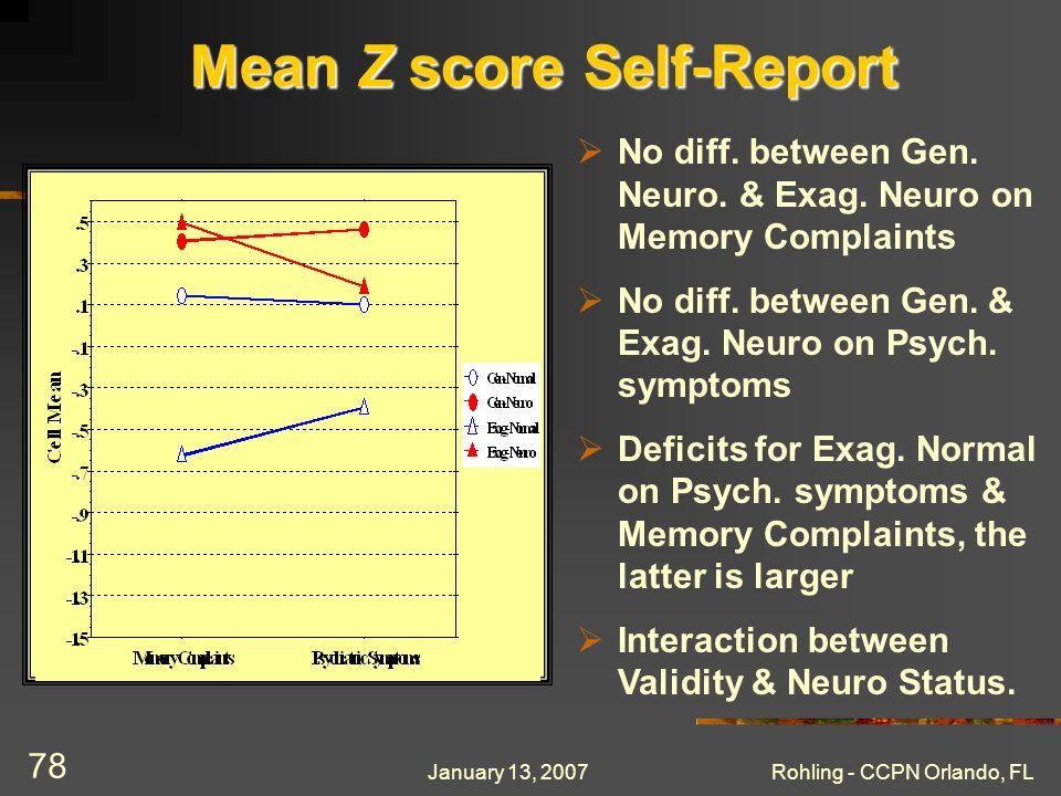 January 13, 2007Rohling - CCPN Orlando, FL 78 Mean Z score Self-Report No diff.