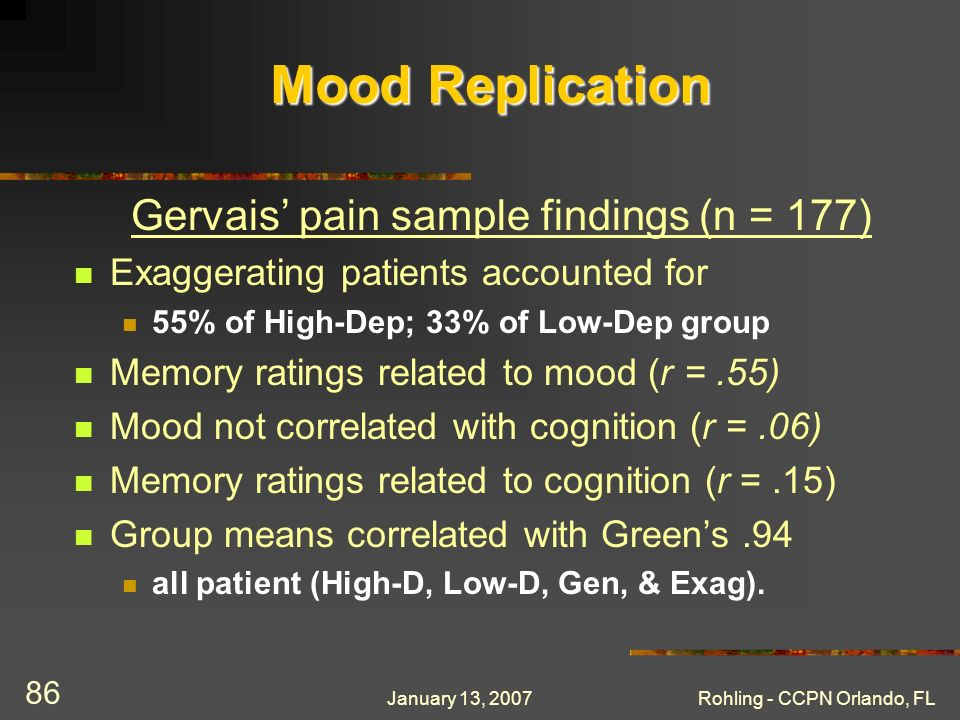 January 13, 2007Rohling - CCPN Orlando, FL 86 Mood Replication Gervais pain sample findings (n = 177) Exaggerating patients accounted for 55% of High-Dep; 33% of Low-Dep group Memory ratings related to mood (r =.55) Mood not correlated with cognition (r =.06) Memory ratings related to cognition (r =.15) Group means correlated with Greens.94 all patient (High-D, Low-D, Gen, & Exag).