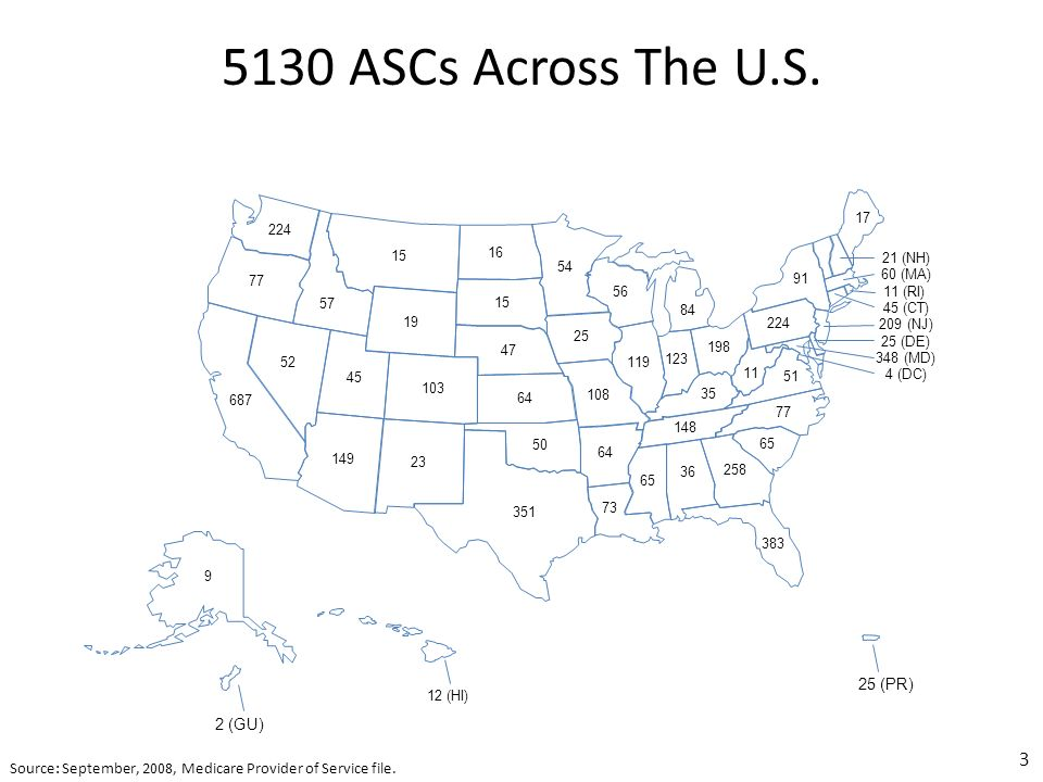 5130 ASCs Across The U.S. 3 Source: September, 2008, Medicare Provider of Service file.