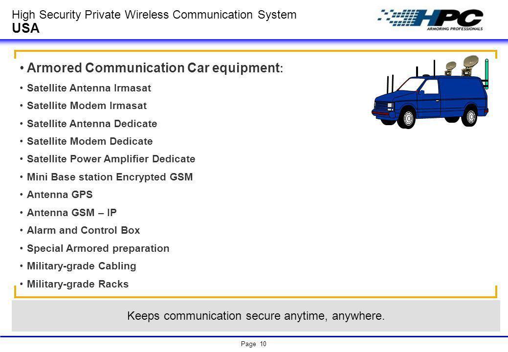 Page 10 High Security Private Wireless Communication System USA Armored Communication Car equipment : Satellite Antenna Irmasat Satellite Modem Irmasa