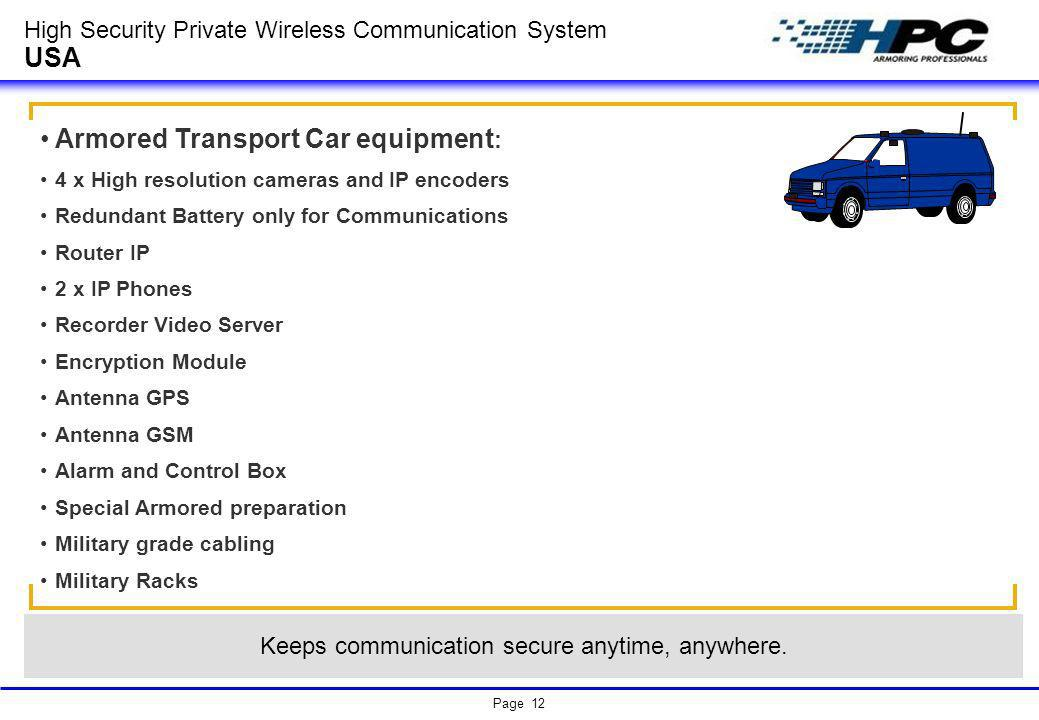Page 12 High Security Private Wireless Communication System USA Armored Transport Car equipment : 4 x High resolution cameras and IP encoders Redundan
