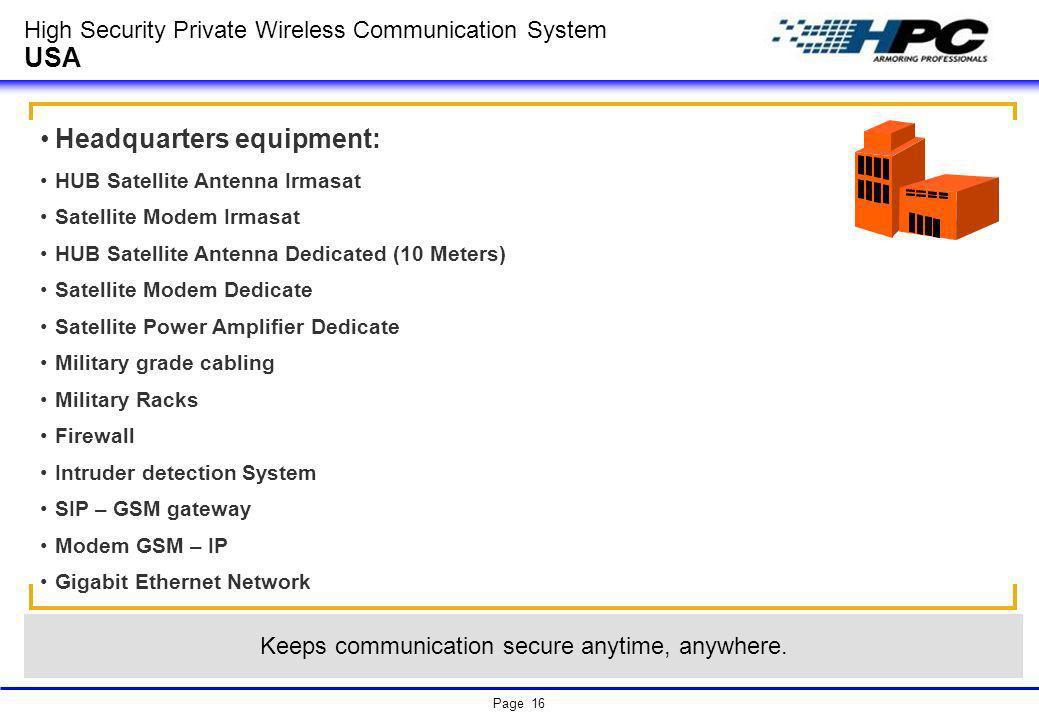 Page 16 High Security Private Wireless Communication System USA Headquarters equipment: HUB Satellite Antenna Irmasat Satellite Modem Irmasat HUB Sate