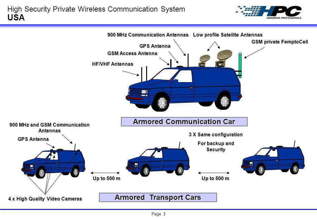 Page 3 Armored Transport Cars 900 MHz and GSM Communication Antennas GPS Antenna 4 x High Quality Video Cameras Armored Communication Car GSM private