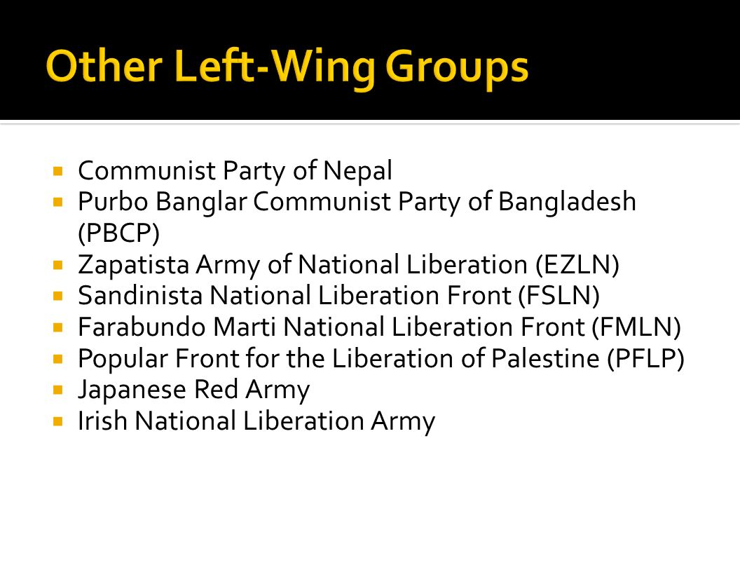 Communist Party of Nepal Purbo Banglar Communist Party of Bangladesh (PBCP) Zapatista Army of National Liberation (EZLN) Sandinista National Liberatio
