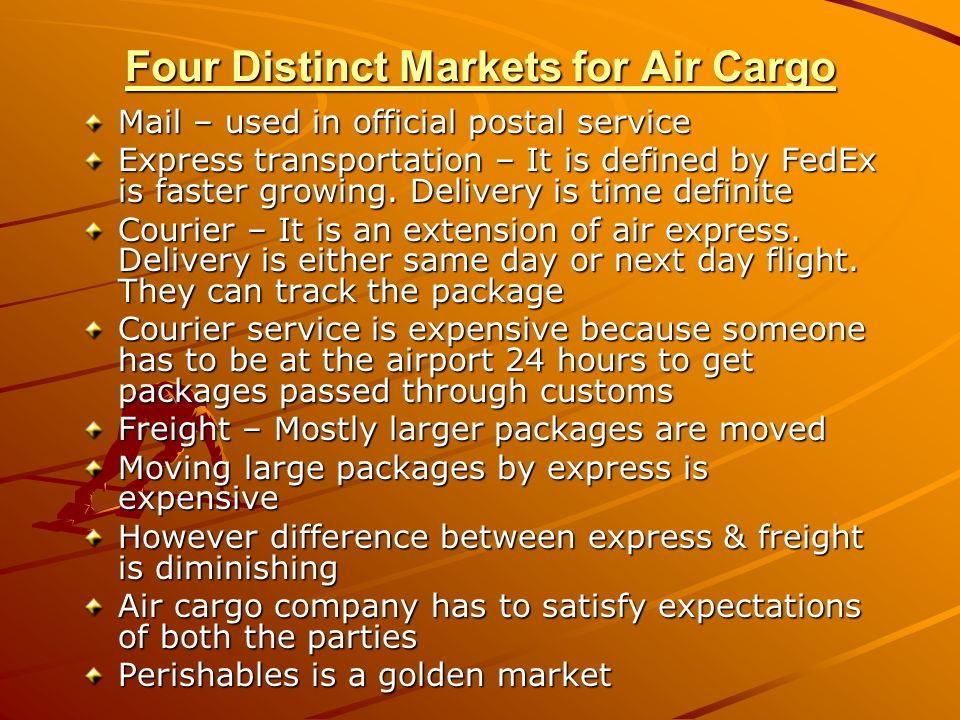 Four Distinct Markets for Air Cargo Mail – used in official postal service Express transportation – It is defined by FedEx is faster growing. Delivery