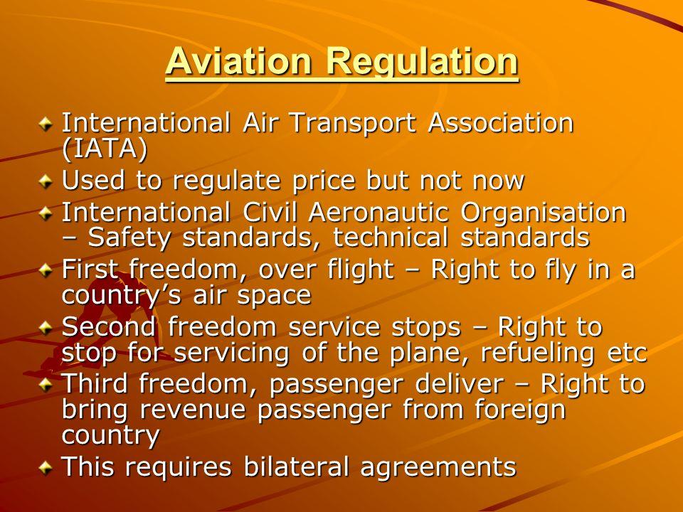 Aviation Regulation International Air Transport Association (IATA) Used to regulate price but not now International Civil Aeronautic Organisation – Sa