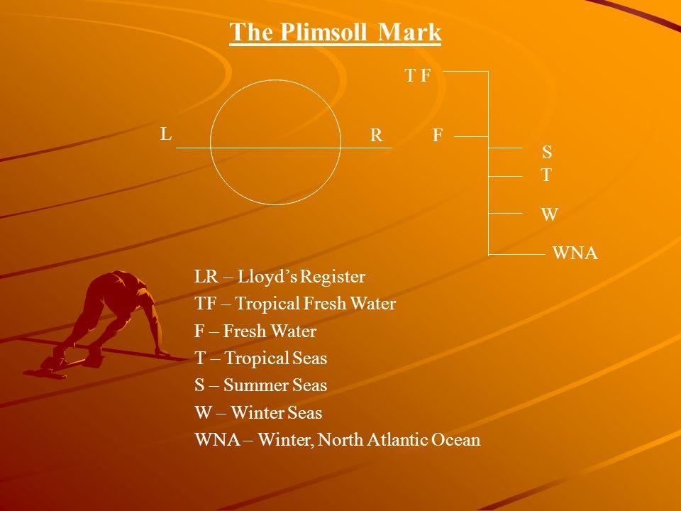 The Plimsoll Mark L RF W S T T F WNA LR – Lloyds Register TF – Tropical Fresh Water F – Fresh Water T – Tropical Seas S – Summer Seas W – Winter Seas