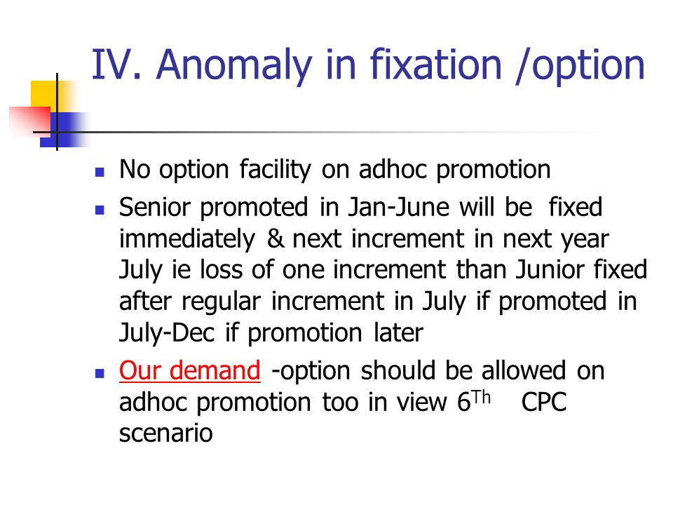IV. Anomaly in fixation /option No option facility on adhoc promotion Senior promoted in Jan-June will be fixed immediately & next increment in next y