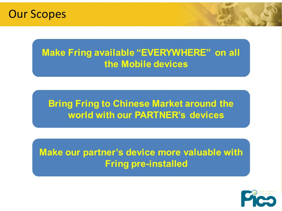 Our Scopes Bring Fring to Chinese Market around the world with our PARTNERs devices Make Fring available EVERYWHERE on all the Mobile devices Make our partners device more valuable with Fring pre-installed