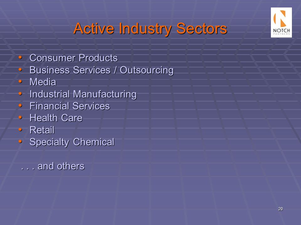 20 Active Industry Sectors Consumer Products Consumer Products Business Services / Outsourcing Business Services / Outsourcing Media Media Industrial