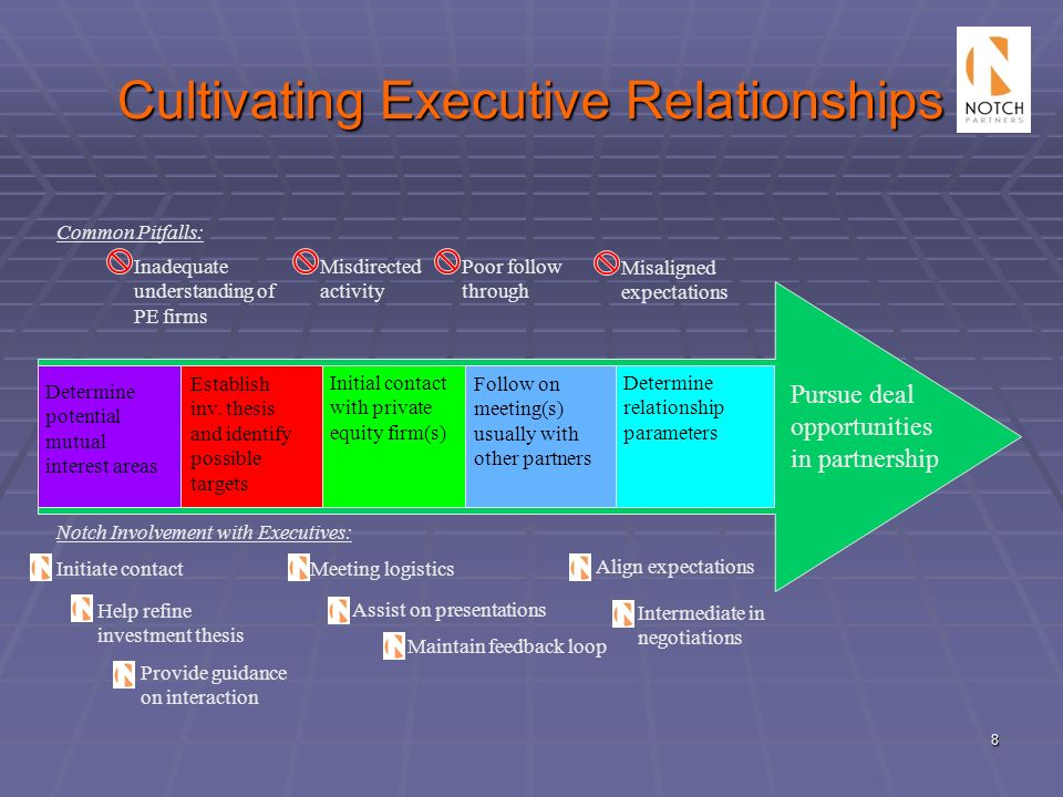 8 Cultivating Executive Relationships Misdirected activity Poor follow through Misaligned expectations Inadequate understanding of PE firms Determine