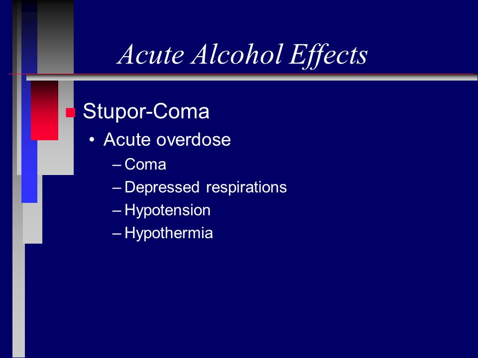 Acute Alcohol Effects n Stupor-Coma Acute overdose –Coma –Depressed respirations –Hypotension –Hypothermia