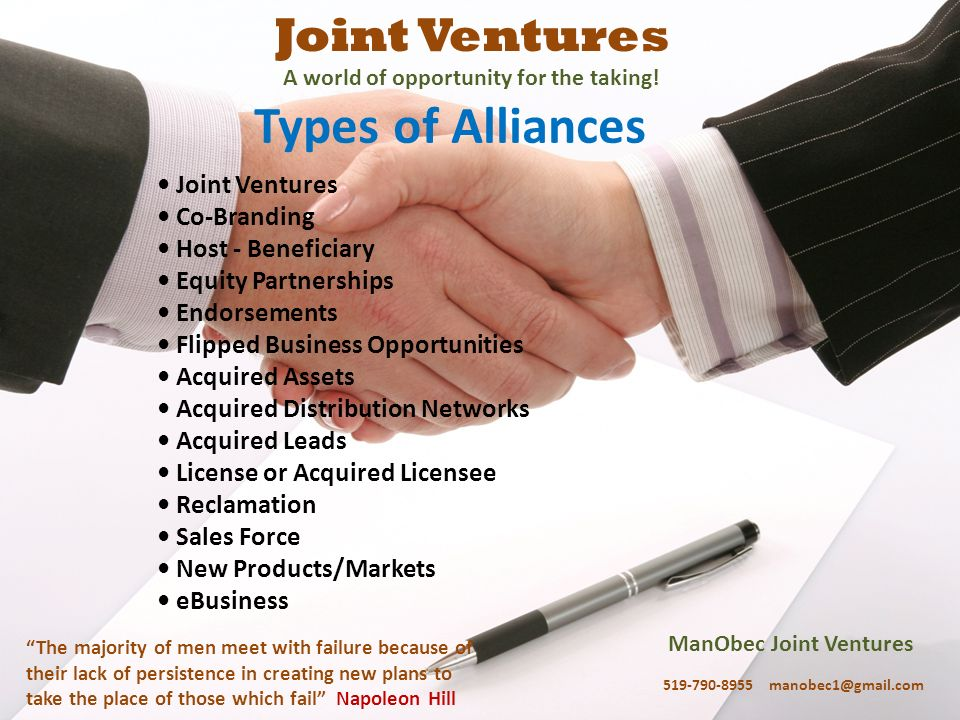 ManObec Joint Ventures 519-790-8955 manobec1@gmail.com The majority of men meet with failure because of their lack of persistence in creating new plan