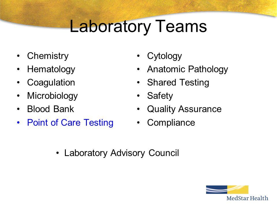 Laboratory Teams Chemistry Hematology Coagulation Microbiology Blood Bank Point of Care Testing Cytology Anatomic Pathology Shared Testing Safety Qual