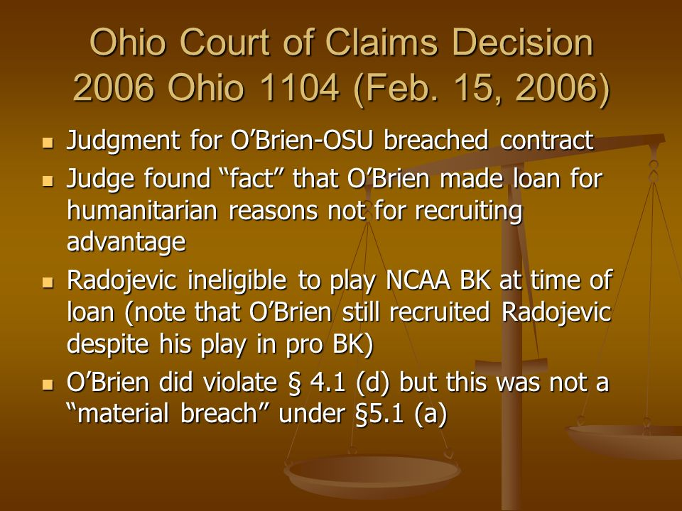The Relevant Section Section 5.1: Section 5.1: Termination for Cause - Ohio State may terminate this agreement at any time for cause, which, for the p