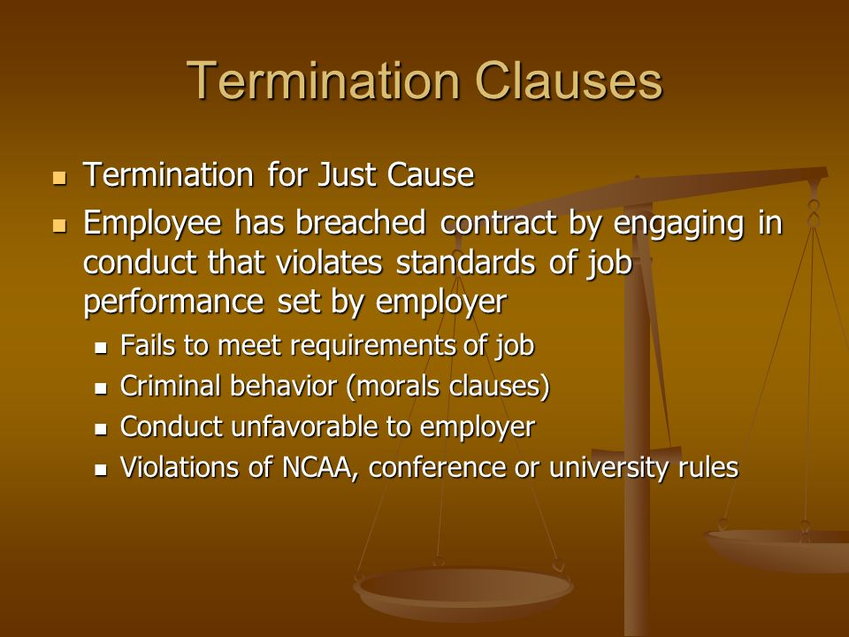 Termination Clauses Termination without Cause Termination without Cause Breach of contract by party terminating contract Breach of contract by party t
