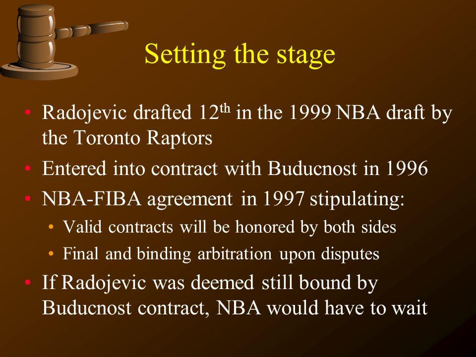 International ADR In re: Toronto Raptors v. Buducnost The Radojevic saga continues