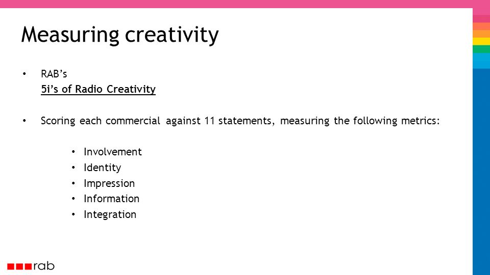 Measuring creativity RABs 5is of Radio Creativity Scoring each commercial against 11 statements, measuring the following metrics: Involvement Identity Impression Information Integration