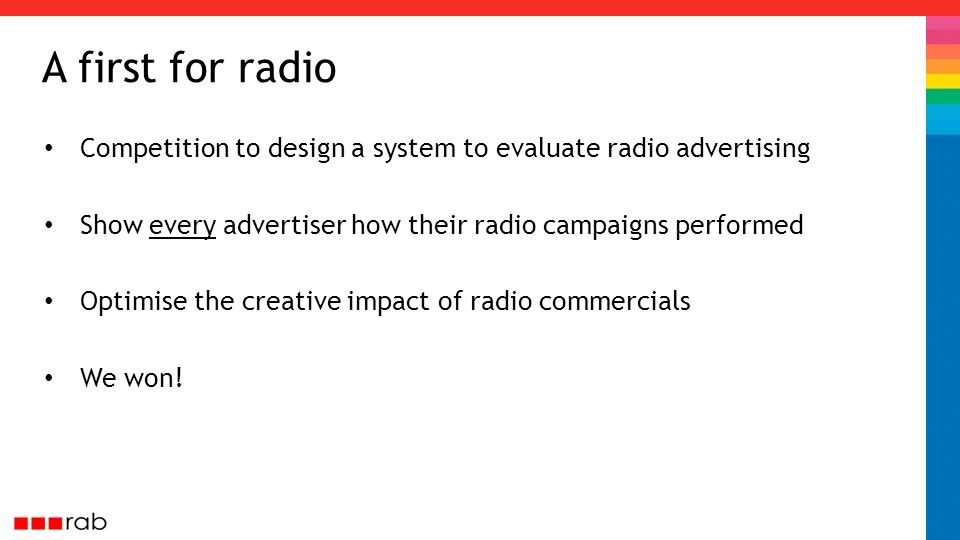 A first for radio Competition to design a system to evaluate radio advertising Show every advertiser how their radio campaigns performed Optimise the creative impact of radio commercials We won!