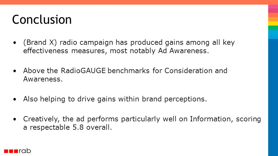 (Brand X) radio campaign has produced gains among all key effectiveness measures, most notably Ad Awareness.
