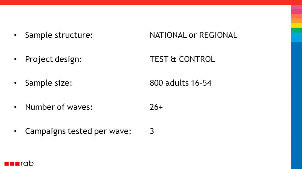 Sample structure: NATIONAL or REGIONAL Project design: TEST & CONTROL Sample size: 800 adults 16-54 Number of waves:26+ Campaigns tested per wave:3