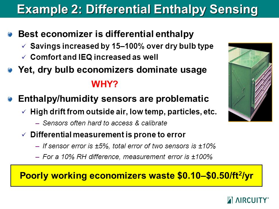 Example 2: Differential Enthalpy Sensing Best economizer is differential enthalpy Savings increased by 15–100% over dry bulb type Comfort and IEQ incr