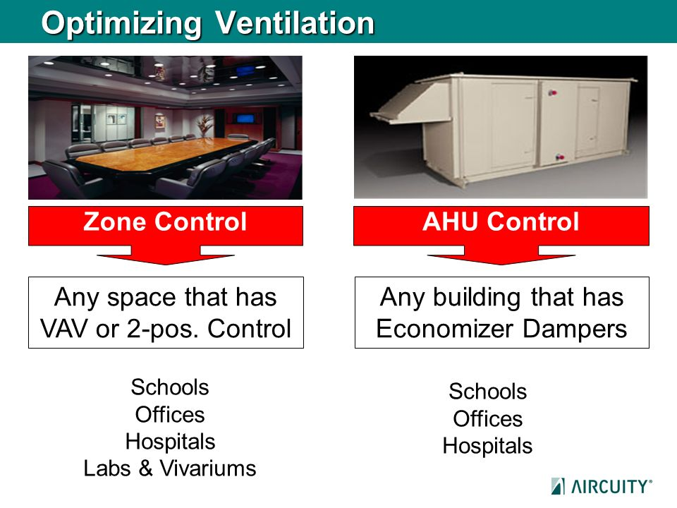 Optimizing Ventilation Zone ControlAHU Control Any building that has Economizer Dampers Any space that has VAV or 2-pos. Control Schools Offices Hospi