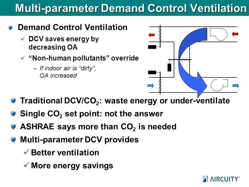 Multi-parameter Demand Control Ventilation Demand Control Ventilation DCV saves energy by decreasing OA Non-human pollutants override –If indoor air i