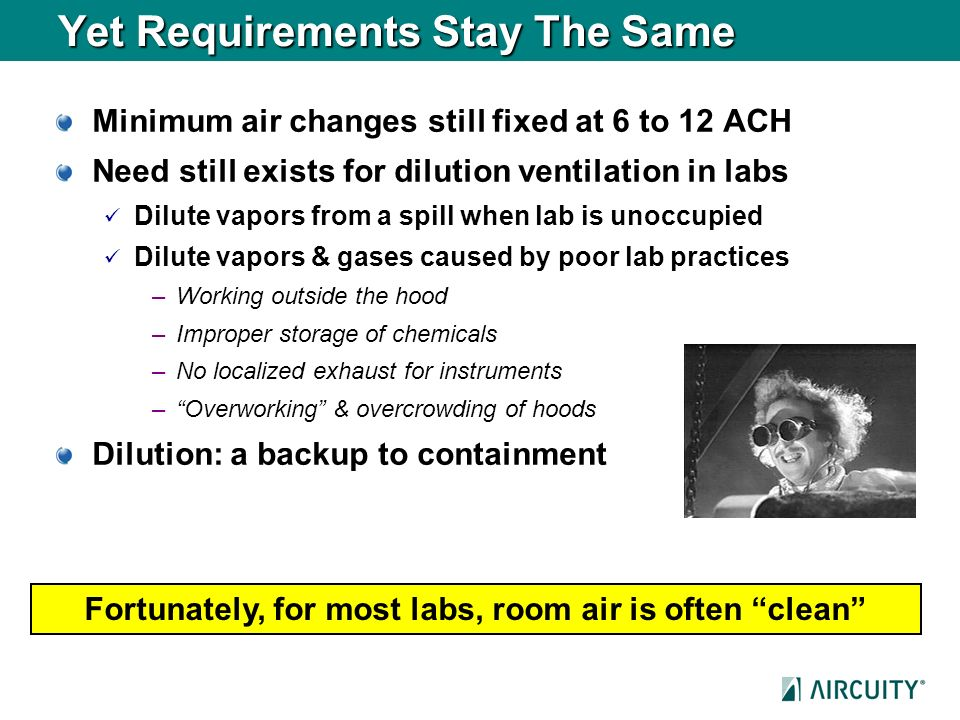 Yet Requirements Stay The Same Minimum air changes still fixed at 6 to 12 ACH Need still exists for dilution ventilation in labs Dilute vapors from a