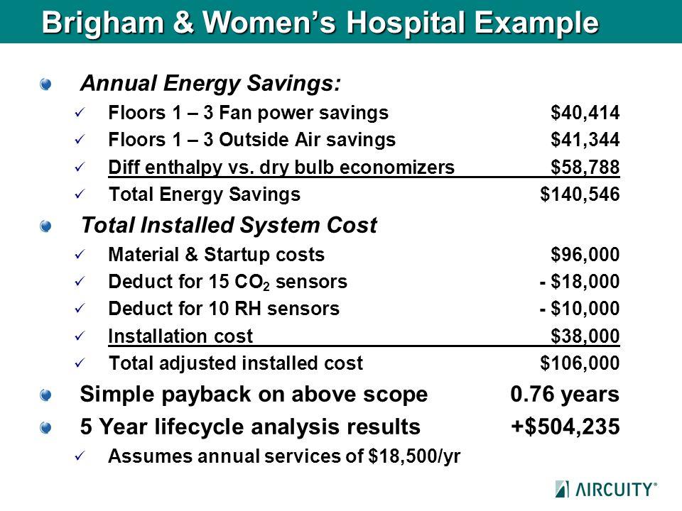 Brigham & Womens Hospital Example Annual Energy Savings: Floors 1 – 3 Fan power savings$40,414 Floors 1 – 3 Outside Air savings$41,344 Diff enthalpy v