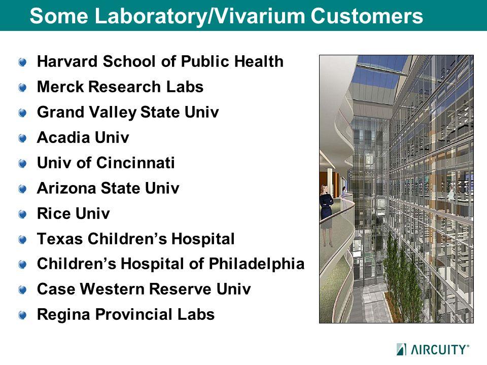 Some Laboratory/Vivarium Customers Harvard School of Public Health Merck Research Labs Grand Valley State Univ Acadia Univ Univ of Cincinnati Arizona