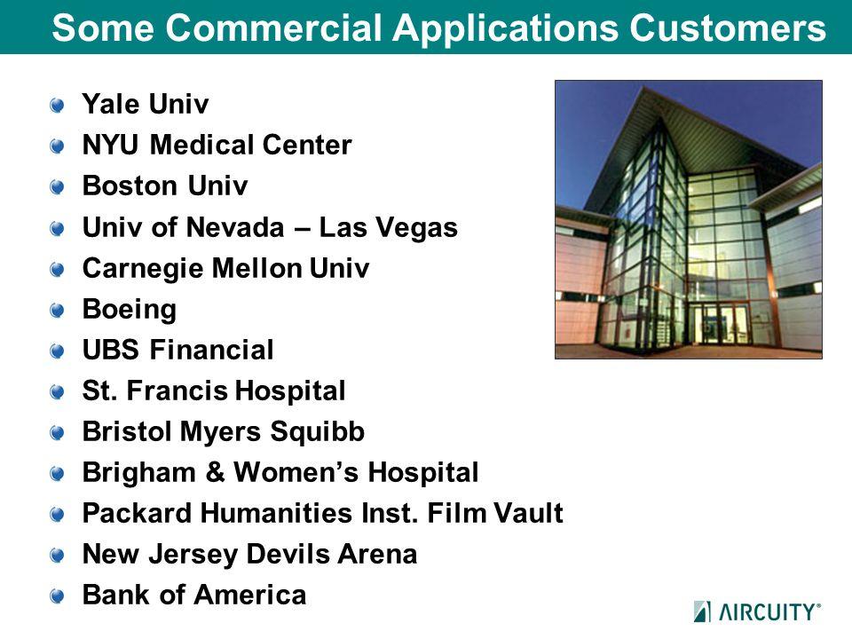 Some Commercial Applications Customers Yale Univ NYU Medical Center Boston Univ Univ of Nevada – Las Vegas Carnegie Mellon Univ Boeing UBS Financial S