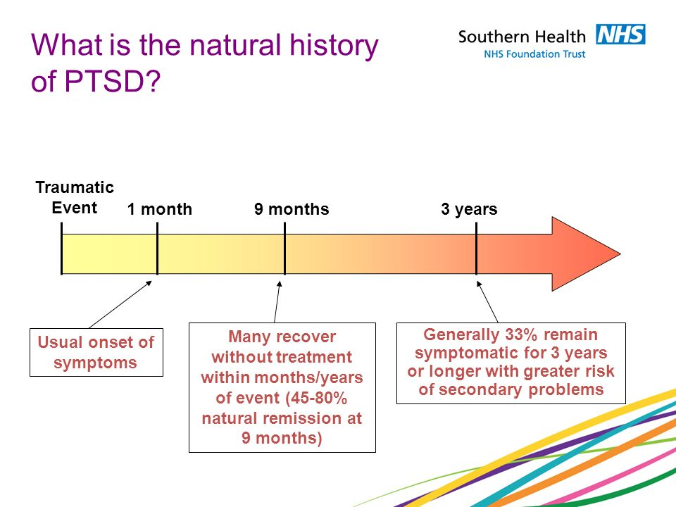 What is the natural history of PTSD? Traumatic Event 1 month9 months3 years Generally 33% remain symptomatic for 3 years or longer with greater risk o