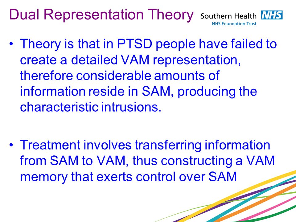 Dual Representation Theory Theory is that in PTSD people have failed to create a detailed VAM representation, therefore considerable amounts of inform