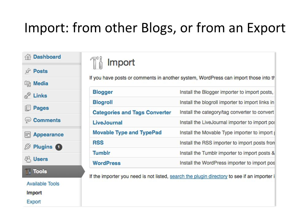 Import: from other Blogs, or from an Export