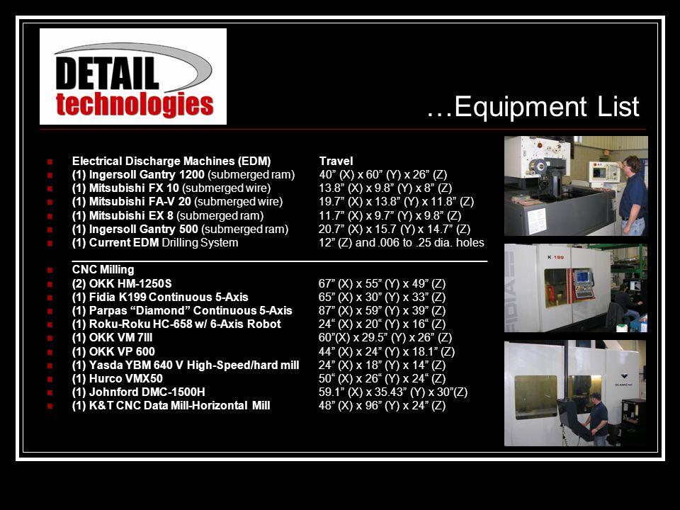 Electrical Discharge Machines (EDM)Travel (1) Ingersoll Gantry 1200 (submerged ram) 40 (X) x 60 (Y) x 26 (Z) (1) Mitsubishi FX 10 (submerged wire)13.8