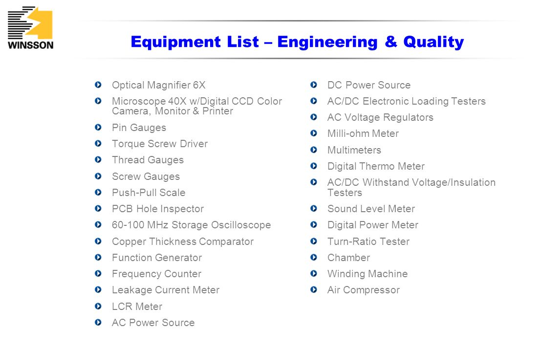 Equipment List – Engineering & Quality Optical Magnifier 6X Microscope 40X w/Digital CCD Color Camera, Monitor & Printer Pin Gauges Torque Screw Drive