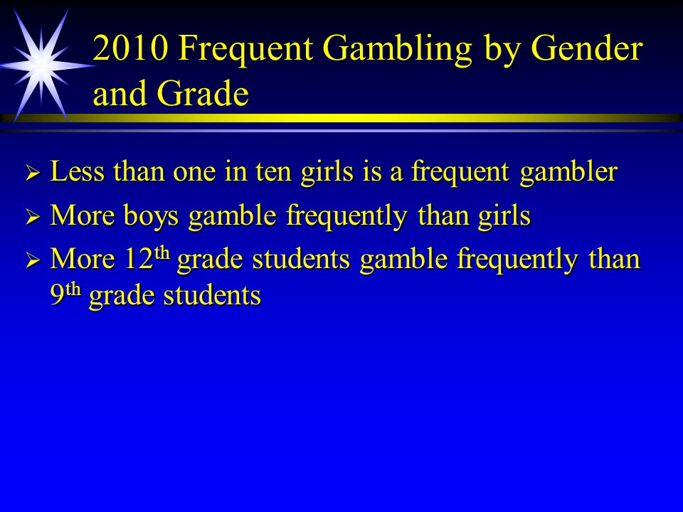 2010 Frequent Gambling by Gender and Grade Less than one in ten girls is a frequent gambler Less than one in ten girls is a frequent gambler More boys