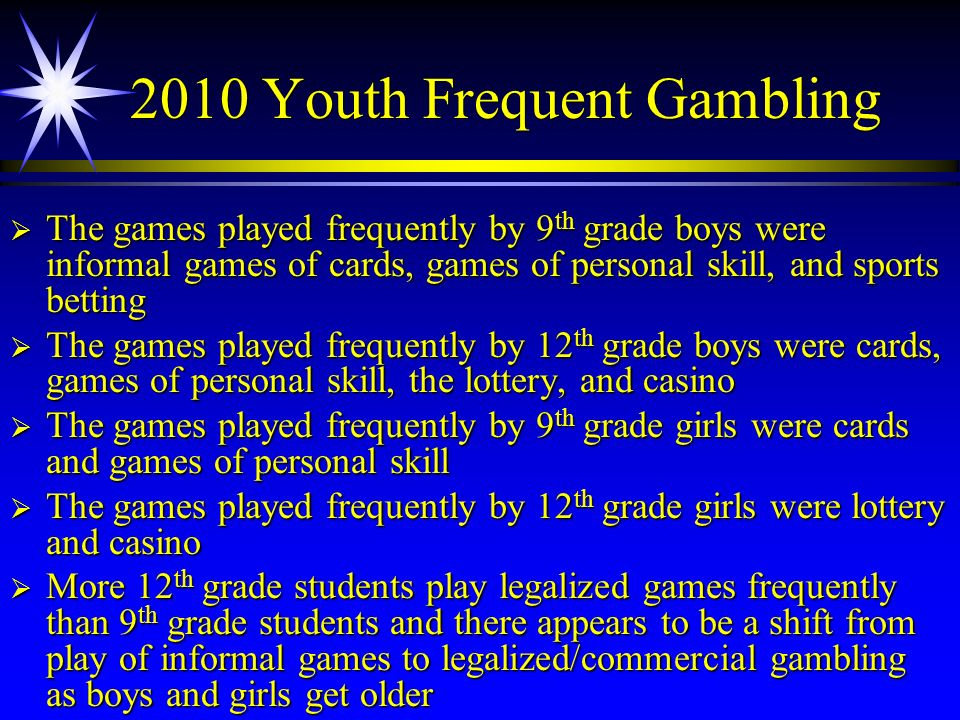 2010 Youth Frequent Gambling The games played frequently by 9 th grade boys were informal games of cards, games of personal skill, and sports betting
