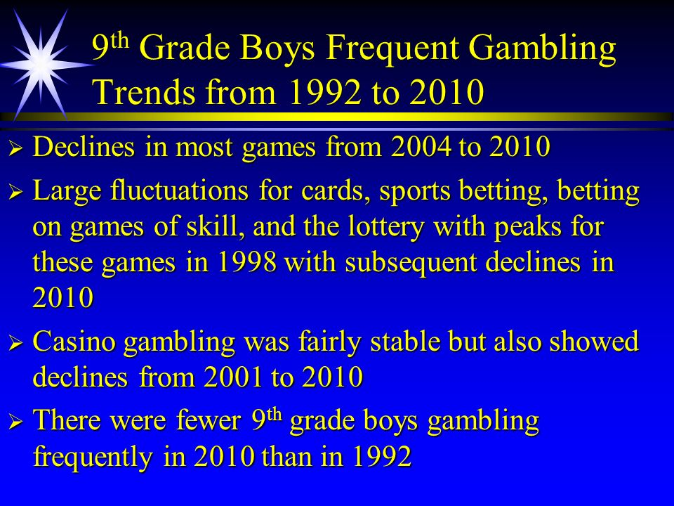 9 th Grade Boys Frequent Gambling Trends from 1992 to 2010 Declines in most games from 2004 to 2010 Declines in most games from 2004 to 2010 Large flu
