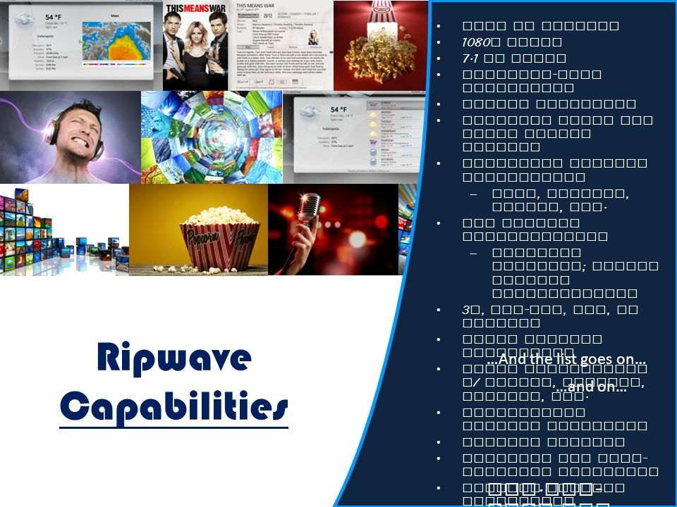 Ripwave Capabilities Live TV Capable 1080 p Video 7.1 HD Audio Lighting - fast navigation Silent operation Multiple audio and video output options Str