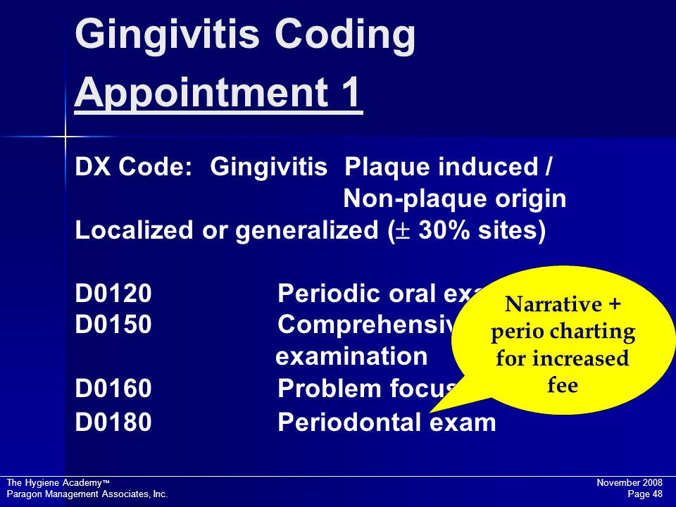 The Hygiene Academy November 2008 Paragon Management Associates, Inc. Page 48 DX Code: Gingivitis Plaque induced / Non-plaque origin Localized or gene