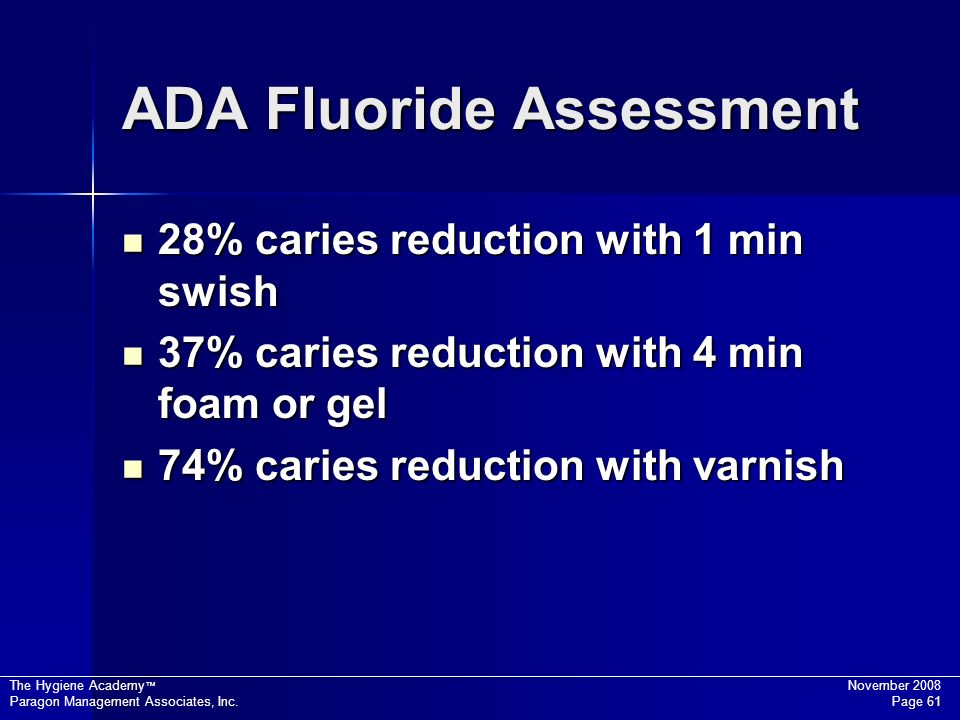 The Hygiene Academy November 2008 Paragon Management Associates, Inc. Page 61 ADA Fluoride Assessment 28% caries reduction with 1 min swish 28% caries