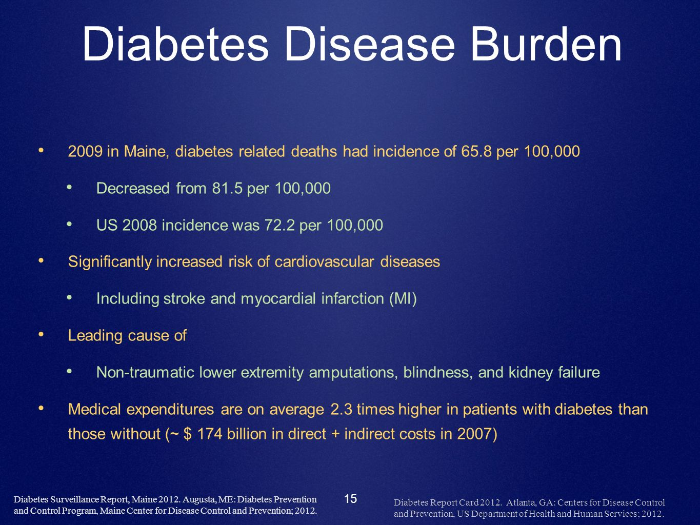 15 Diabetes Disease Burden 2009 in Maine, diabetes related deaths had incidence of 65.8 per 100,000 Decreased from 81.5 per 100,000 US 2008 incidence